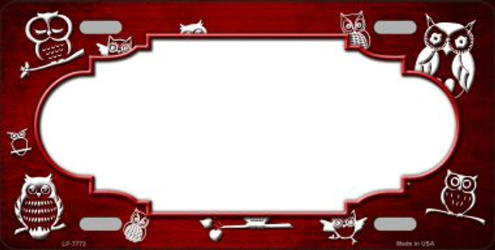 Red White Owl Scallop Oil Rubbed Wholesale Metal Novelty License Plate