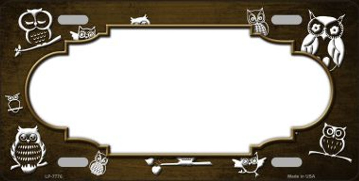 Brown White Owl Scallop Oil Rubbed Wholesale Metal Novelty License Plate