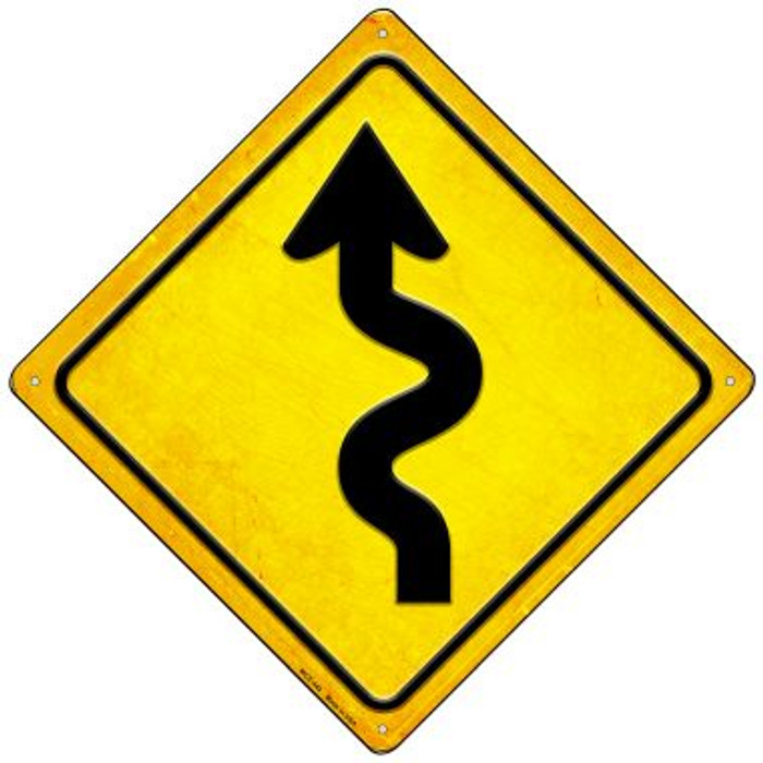 Curvy Road Wholesale Novelty Mini Metal Crossing Sign MCX-442