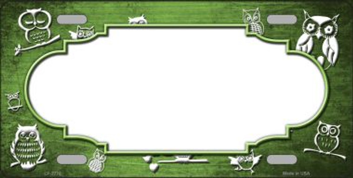 Lime Green White Owl Scallop Oil Rubbed Wholesale Metal Novelty License Plate