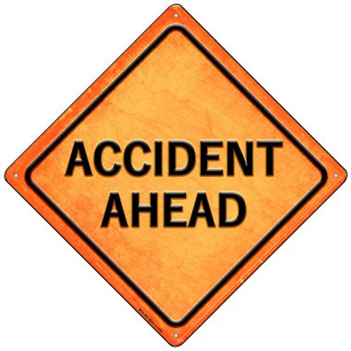 Accident Ahead Wholesale Novelty Mini Metal Crossing Sign MCX-582