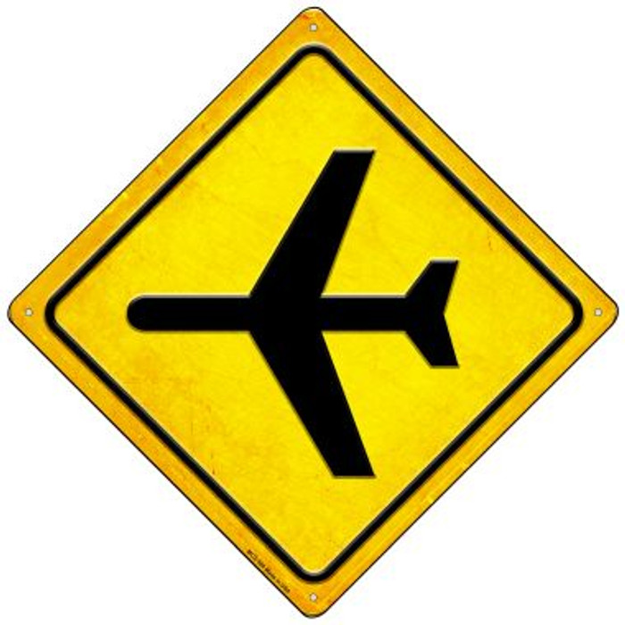 Airplane Wholesale Novelty Mini Metal Crossing Sign MCX-588