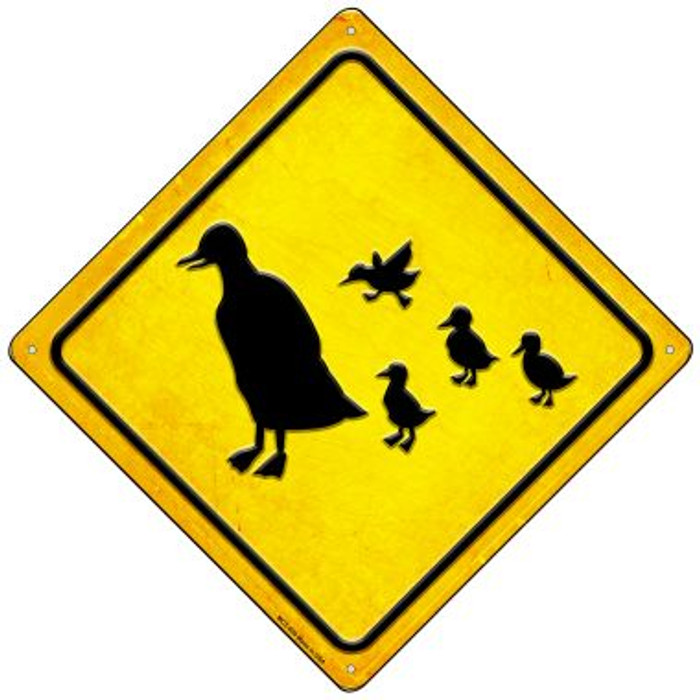 Duck and Ducklings Wholesale Novelty Mini Metal Crossing Sign MCX-609