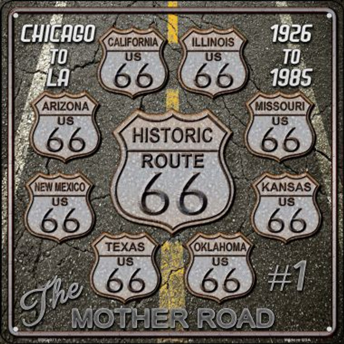 Route 66 Black Top Wholesale Novelty Mini Metal Square MSQ-071
