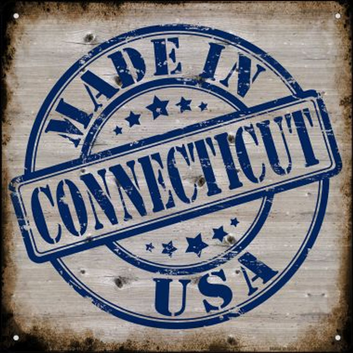 Connecticut Stamp On Wood Wholesale Novelty Mini Metal Square MSQ-112