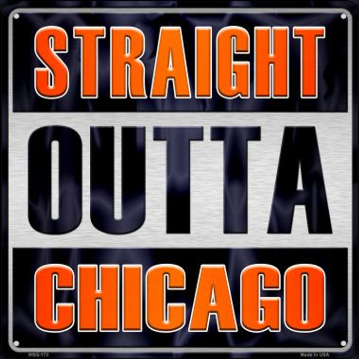 Straight Outta Chicago Wholesale Novelty Mini Metal Square MSQ-173