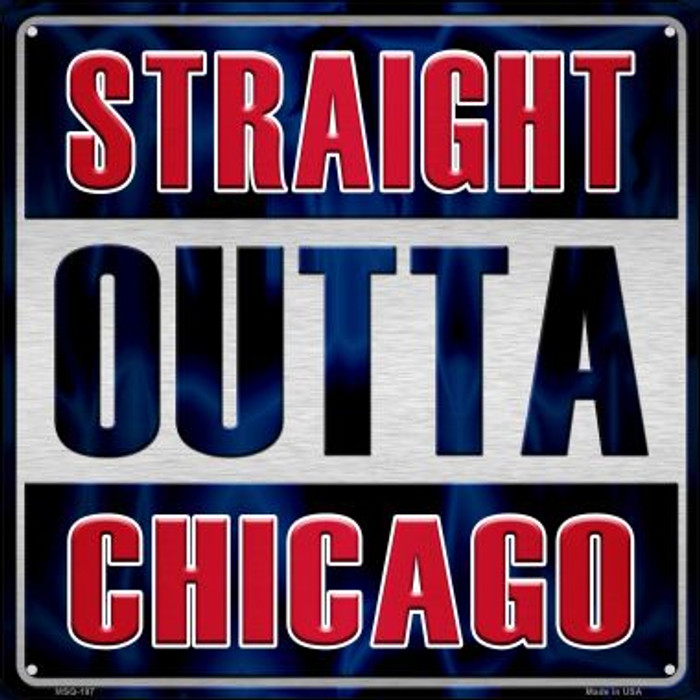 Straight Outta Chicago Wholesale Novelty Mini Metal Square MSQ-197