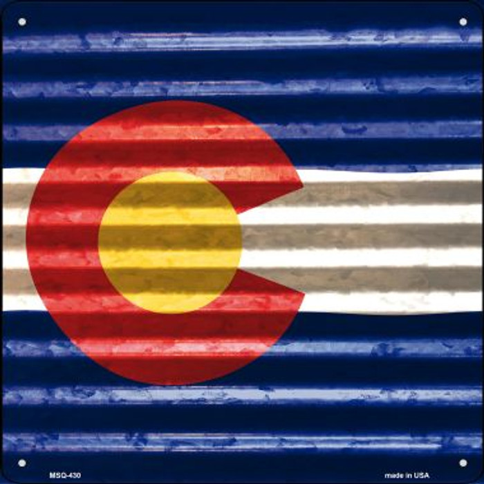 Colorado Flag Corrugated Effect Wholesale Novelty Mini Metal Square MSQ-430