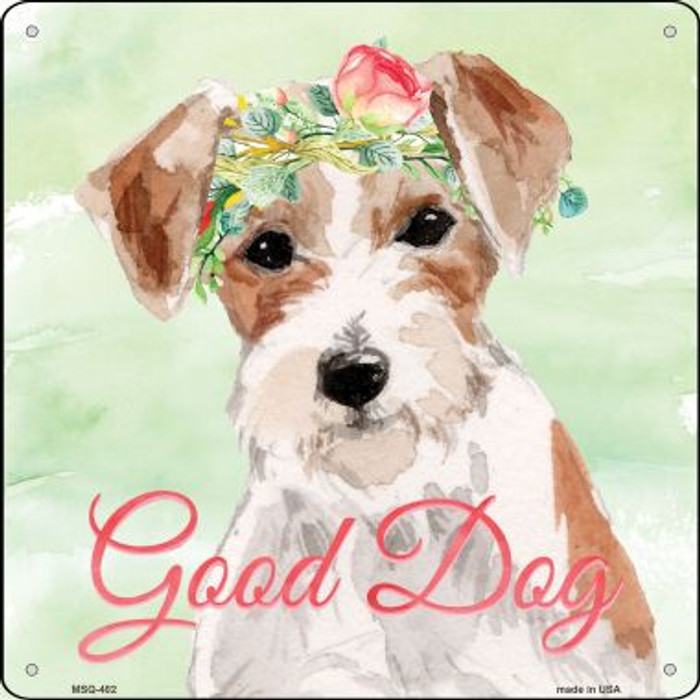 Jack Russell Good Dog  Wholesale Novelty Mini Metal Square MSQ-402