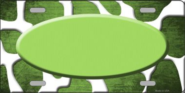 Lime Green White Oval Giraffe Oil Rubbed Wholesale Metal Novelty License Plate