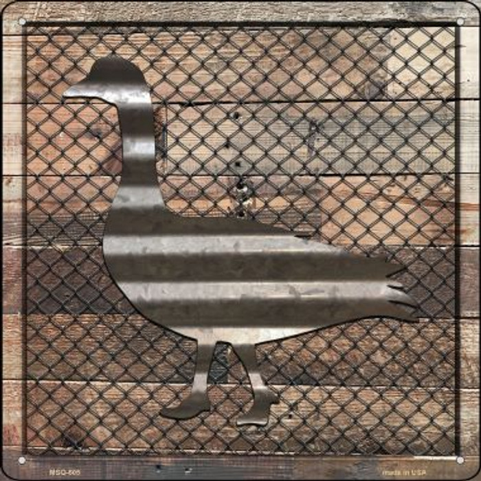 Corrugated Duck on Wood Wholesale Novelty Mini Metal Square MSQ-605