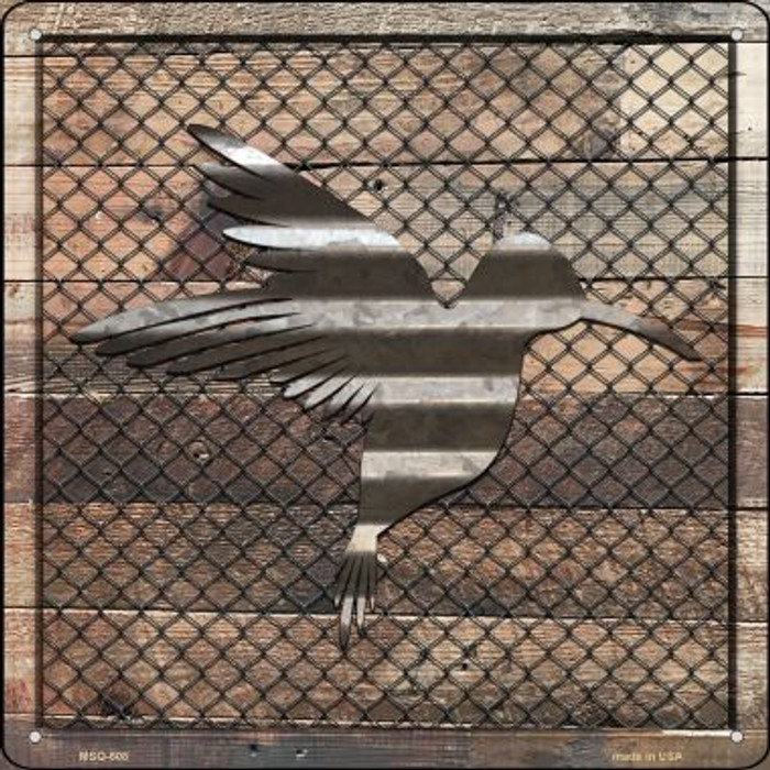Corrugated Hummingbird on Wood Wholesale Novelty Mini Metal Square MSQ-608