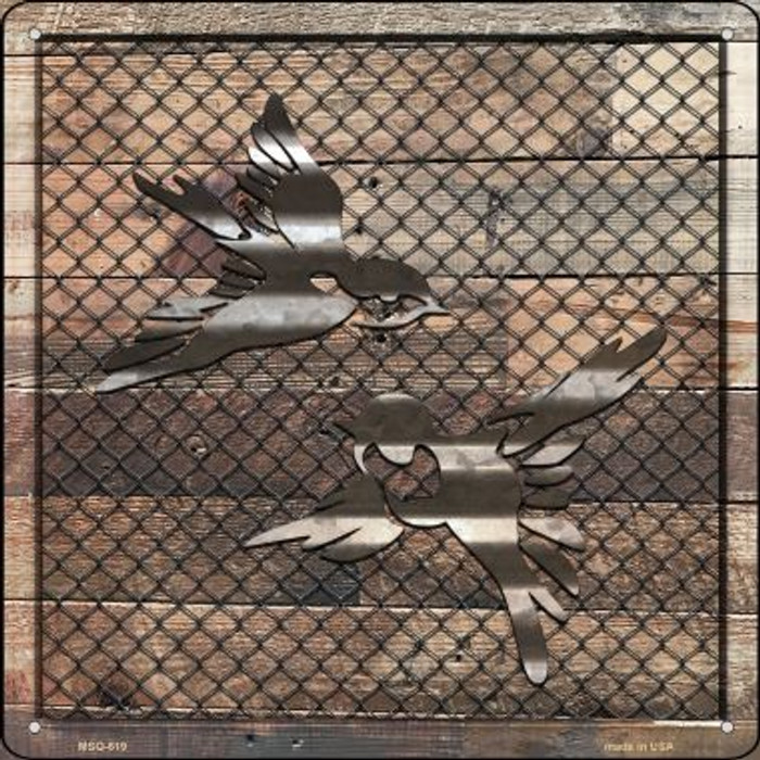 Corrugated Little Birds on Wood Wholesale Novelty Mini Metal Square MSQ-619