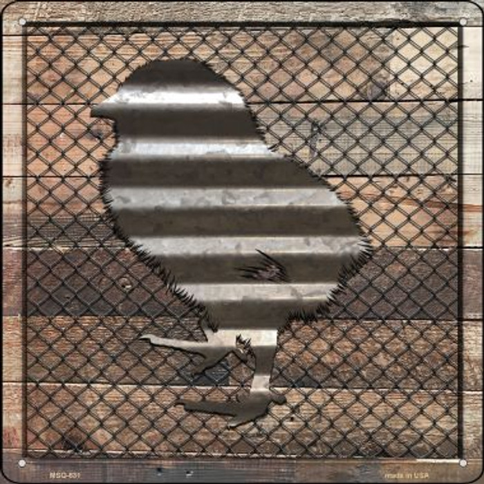 Corrugated Chick on Wood Wholesale Novelty Mini Metal Square MSQ-631