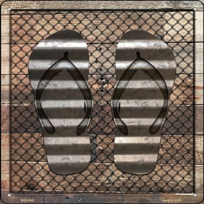 Corrugated Flip Flops on Wood Wholesale Novelty Mini Metal Square MSQ-640