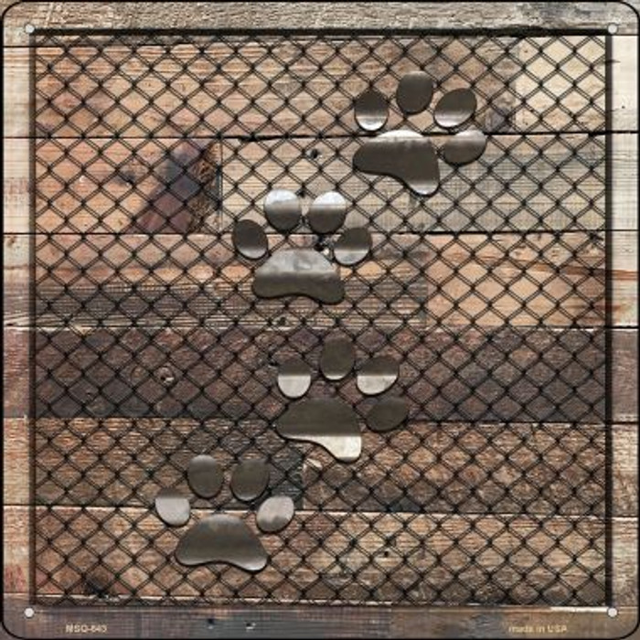 Corrugated Dog Paws on Wood Wholesale Novelty Mini Metal Square MSQ-643