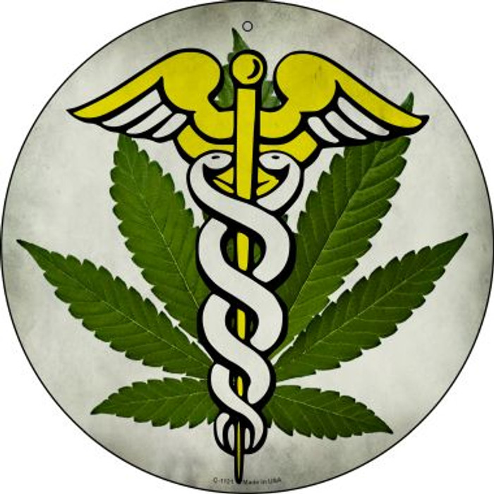 Cannabis Caduceus Wholesale Novelty Metal Circular Sign C-1131