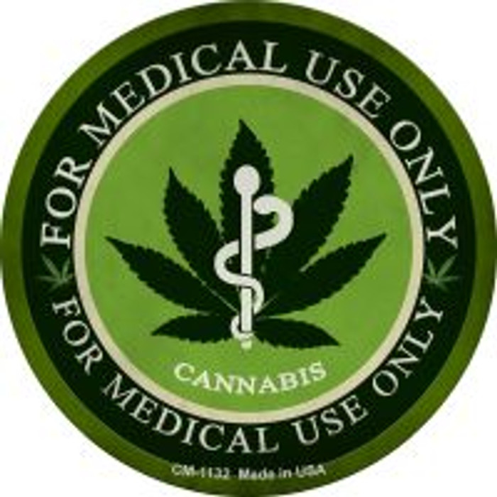 Cannabis For Medical Use Only Wholesale Novelty Metal Mini Circle Magnet CM-1132
