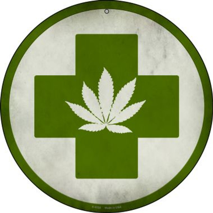 Cannabis Green Cross Wholesale Novelty Metal Circular Sign C-1133