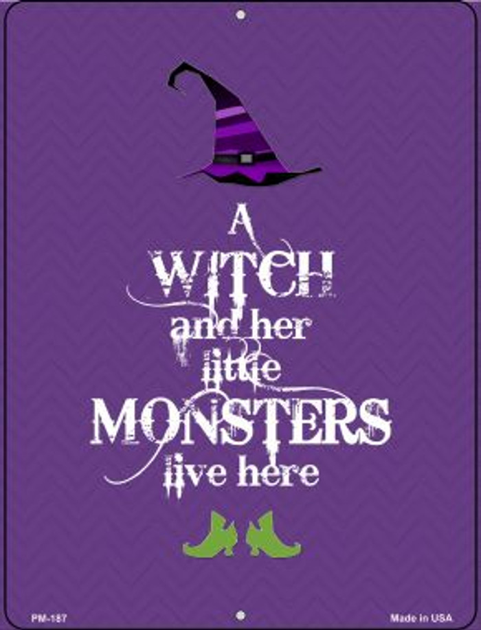 Witch And Monsters Wholesale Novelty Mini Metal Parking Sign PM-187