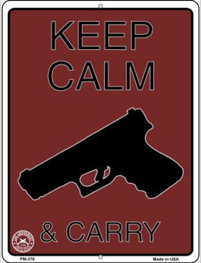 Keep Calm & Carry Wholesale Novelty Mini Metal Parking Sign PM-376