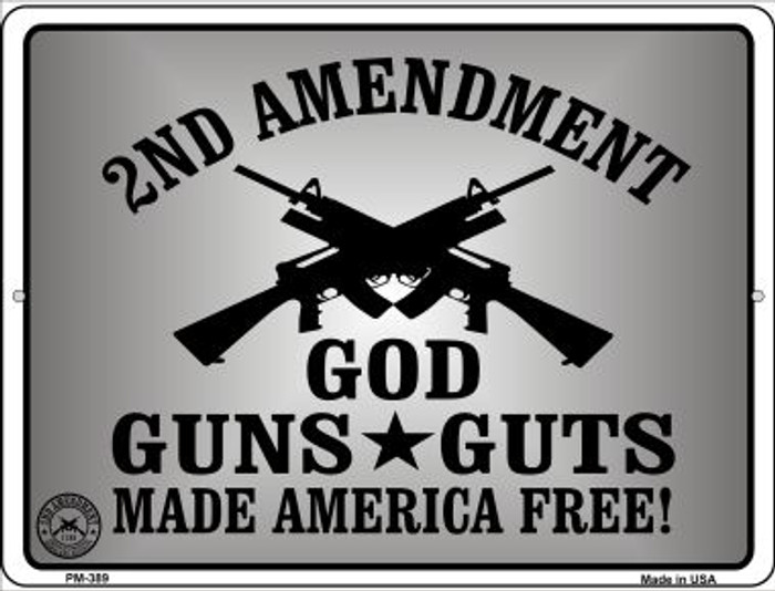 God Guns Guts Wholesale Novelty Mini Metal Parking Sign PM-389