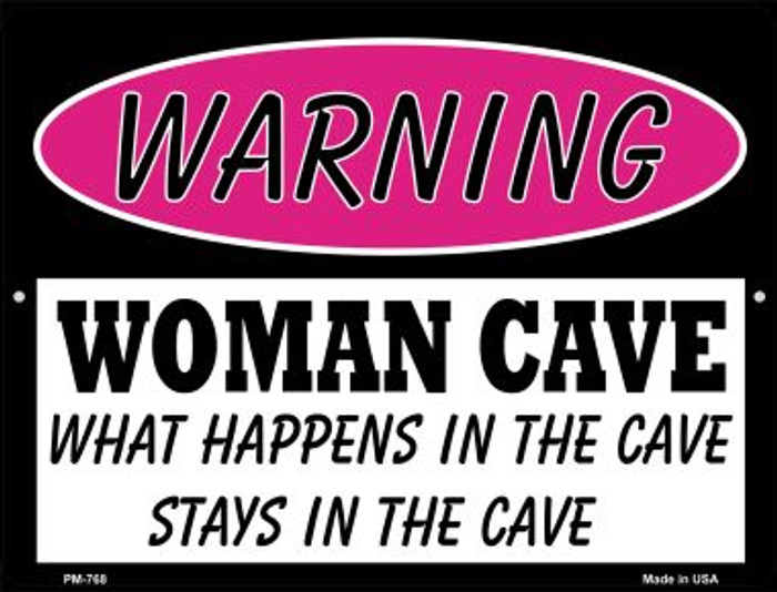 What Happens in the Cave Wholesale Novelty Mini Metal Parking Sign PM-768