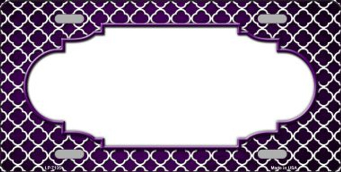 Purple White Quatrefoil Scallop Print Oil Rubbed Wholesale Metal Novelty License Plate