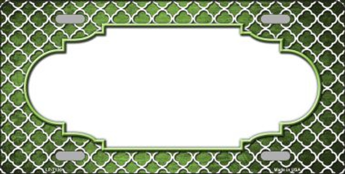 Lime Green White Quatrefoil Scallop Print Oil Rubbed Wholesale Metal Novelty License Plate