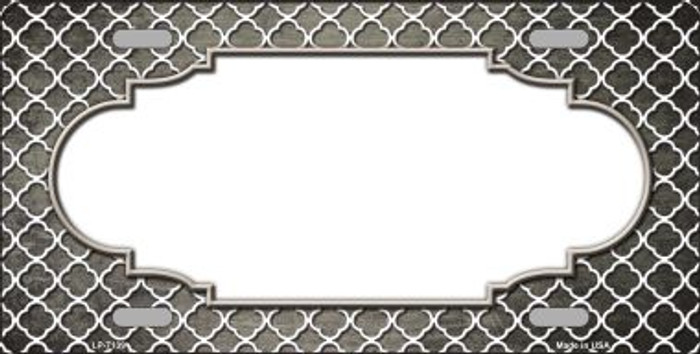 Tan White Quatrefoil Scallop Print Oil Rubbed Wholesale Metal Novelty License Plate