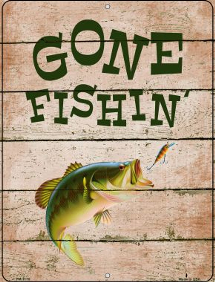 Gone Fishing Wholesale Novelty Mini Metal Parking Sign PM-1176