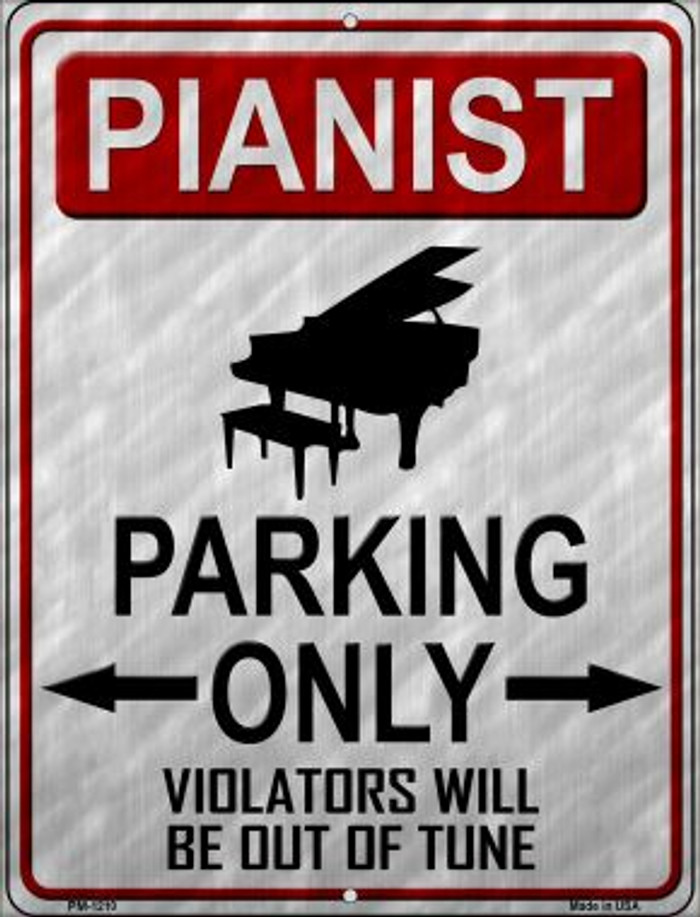 Pianist Parking Wholesale Novelty Mini Metal Parking Sign PM-1210