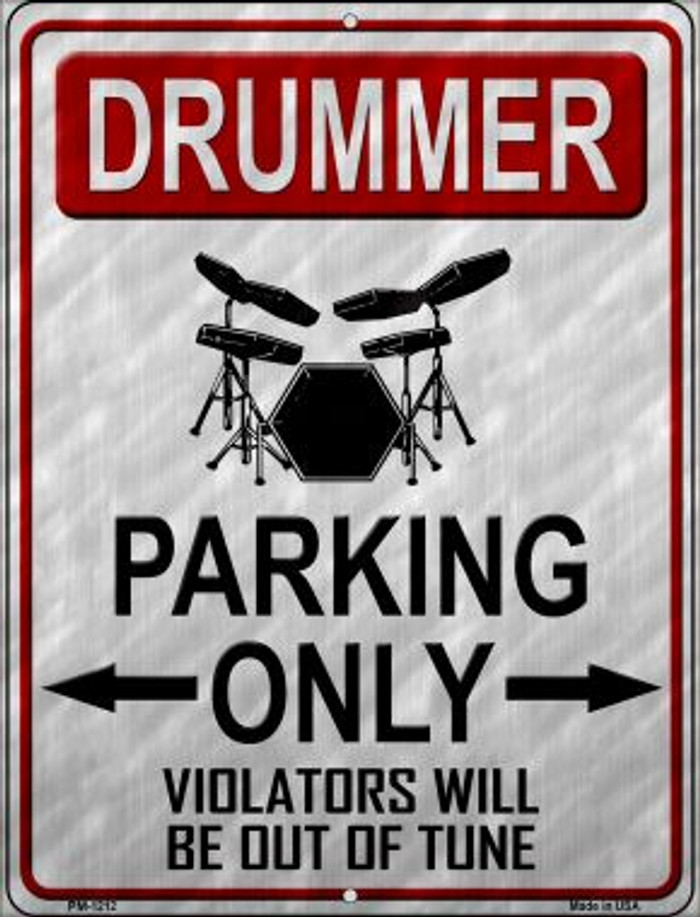 Drummer Parking Wholesale Novelty Mini Metal Parking Sign PM-1212