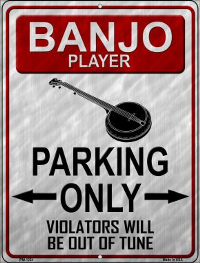 Banjo Player Parking Wholesale Novelty Mini Metal Parking Sign PM-1224