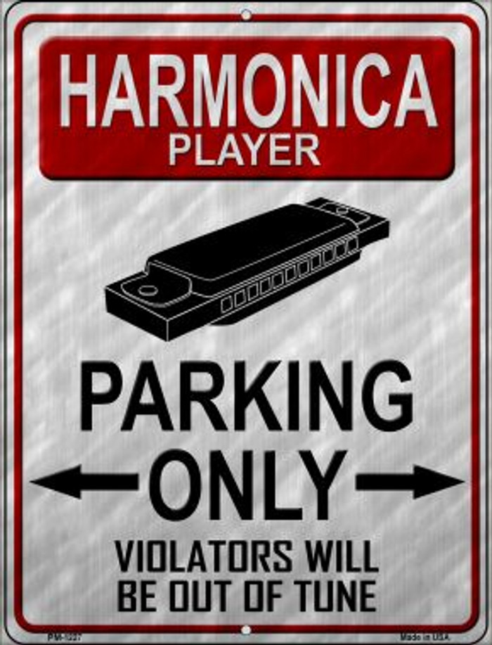 Harmonica Player Parking Wholesale Novelty Mini Metal Parking Sign PM-1227
