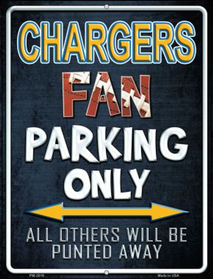 Chargers Wholesale Novelty Mini Metal Parking Sign PM-2016