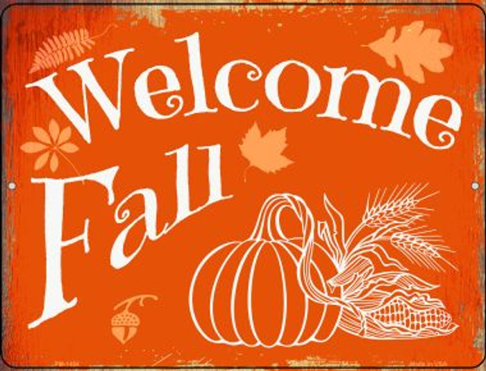 Welcome Fall Wholesale Novelty Mini Metal Parking Sign PM-1454