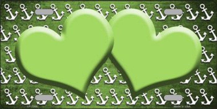 Lime Green White Anchor Hearts Print Oil Rubbed Wholesale Metal Novelty License Plate