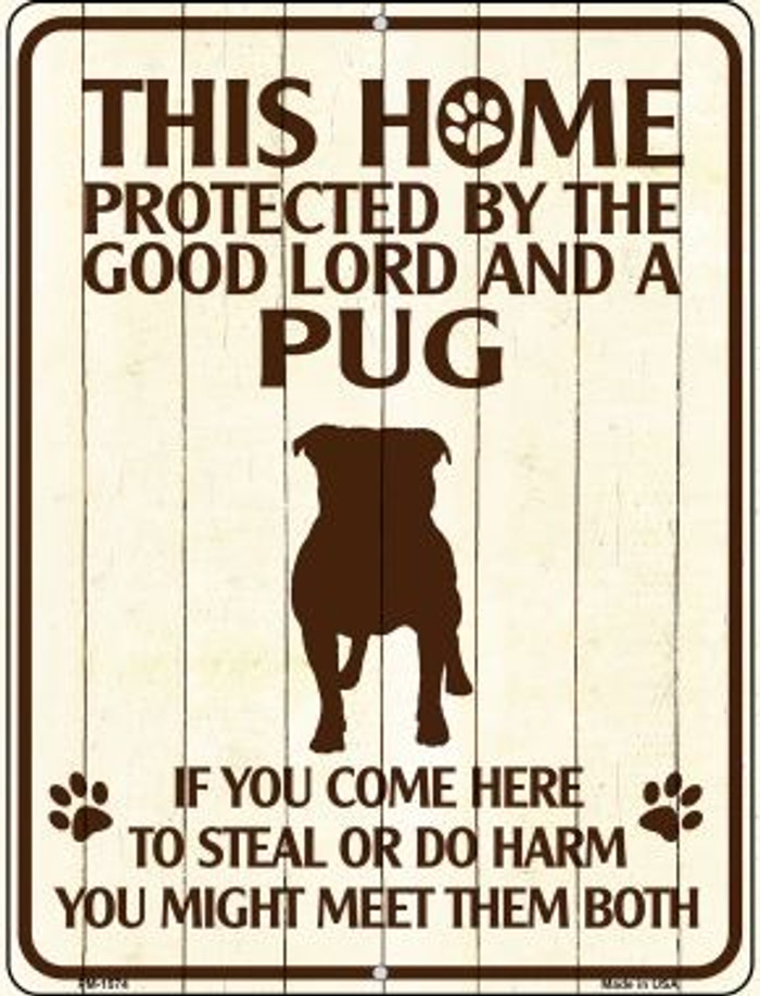 Pug Protected Wholesale Novelty Mini Metal Parking Sign PM-1574