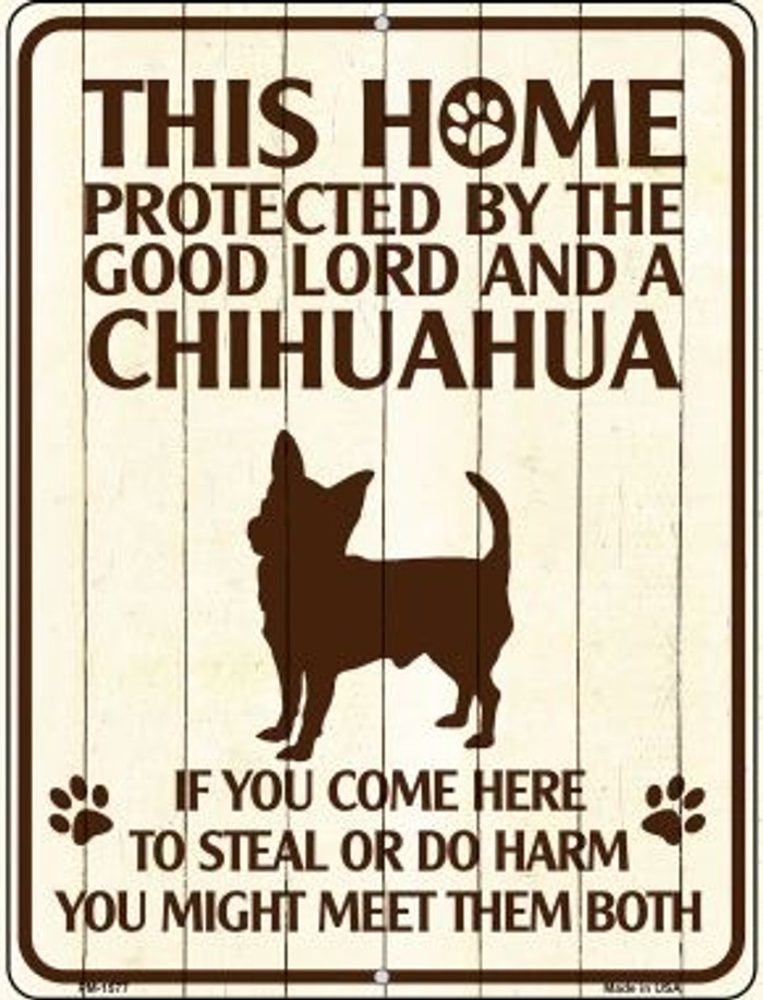 Chihuahua Protected Wholesale Novelty Mini Metal Parking Sign PM-1577