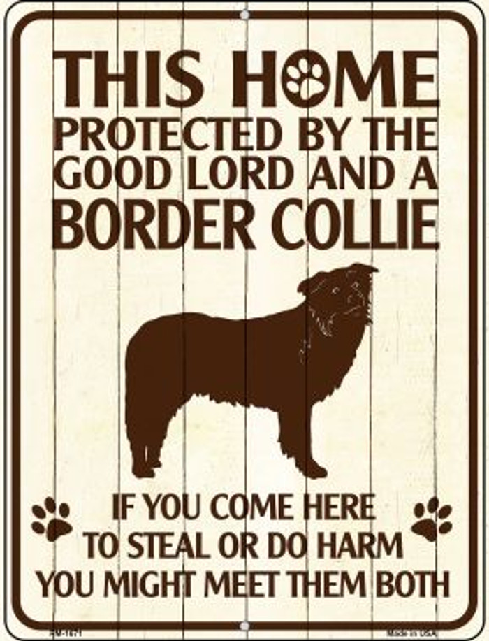Home Protected By Border Collie Wholesale Novelty Mini Metal Parking Sign PM-1671