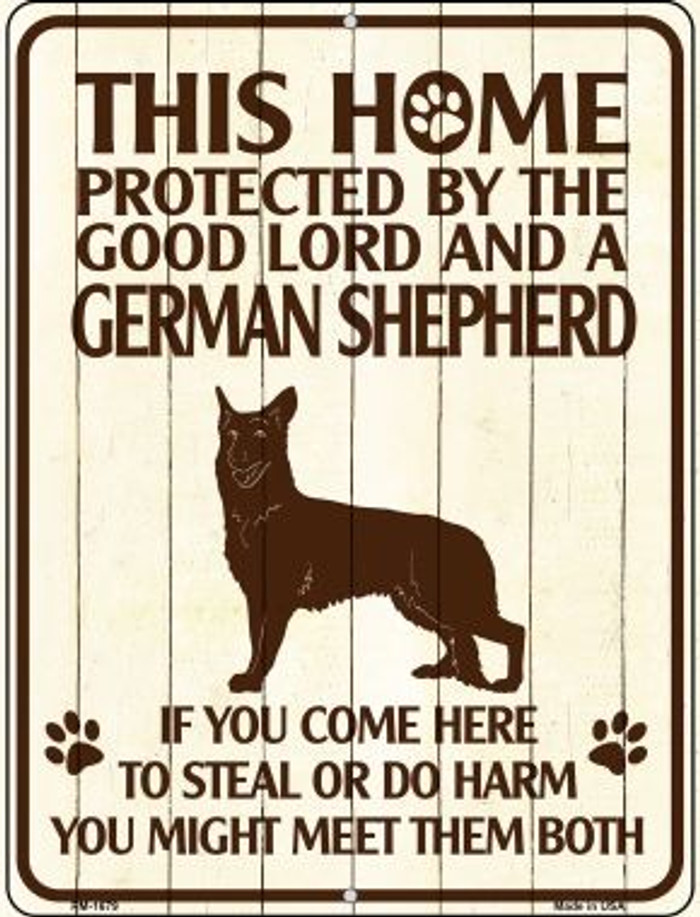 Home Protected By German Shepherd Wholesale Novelty Mini Metal Parking Sign PM-1679