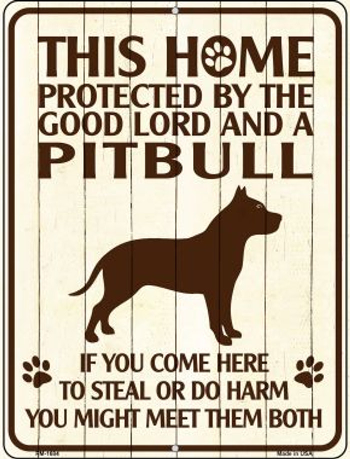 Home Protected By Pitbull Wholesale Novelty Mini Metal Parking Sign PM-1684