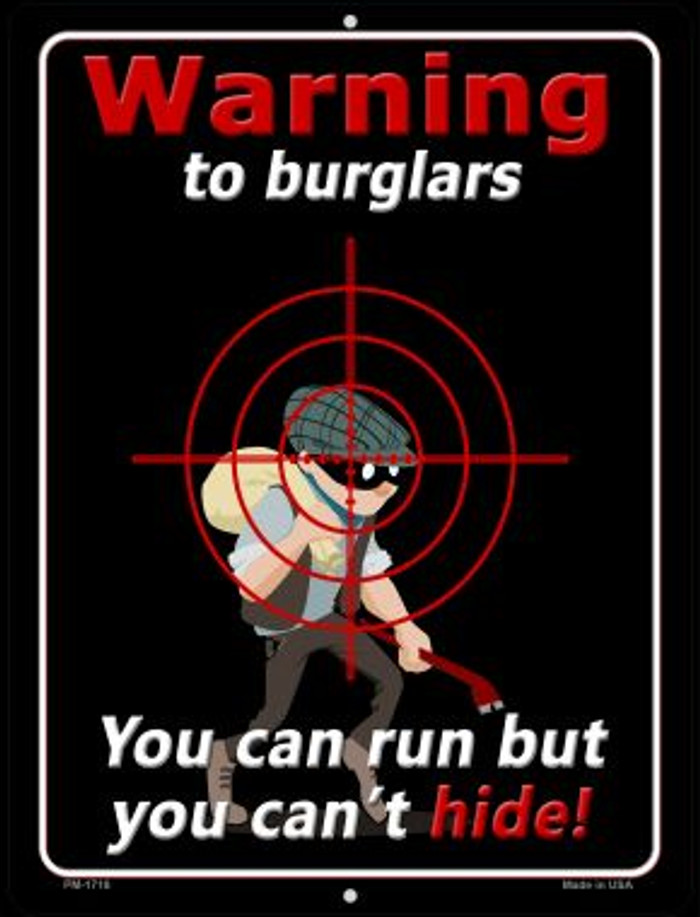 Warning To Burglars Wholesale Novelty Mini Metal Parking Sign PM-1718