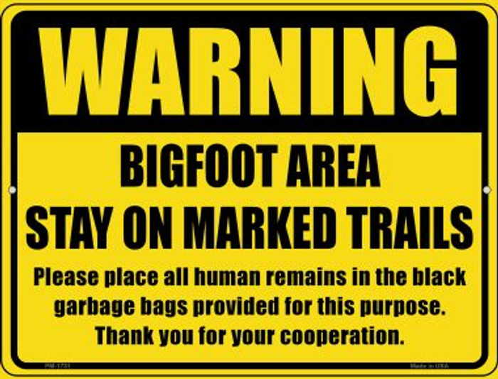 Warning Bigfoot Area Wholesale Novelty Mini Metal Parking Sign PM-1731