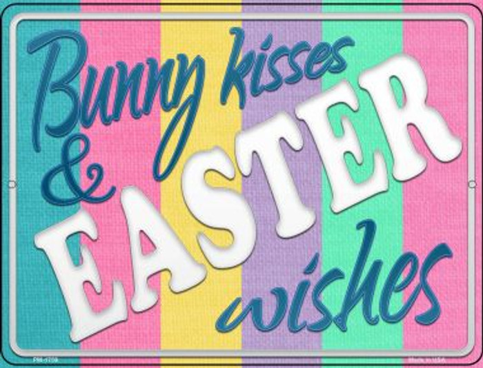 Bunny Kisses and Easter Wishes Wholesale Novelty Mini Metal Parking Sign PM-1759