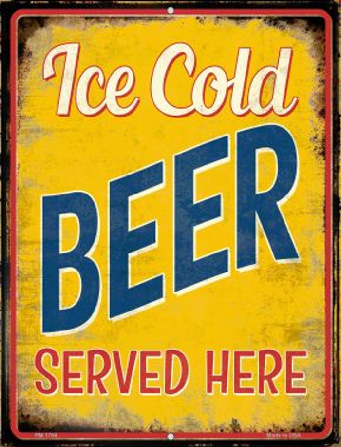 Ice Cold Beer Served Here Wholesale Novelty Mini Metal Parking Sign PM-1784