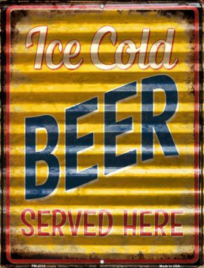 Ice Cold Beer Served Here Wholesale Novelty Mini Metal Parking Sign PM-2313