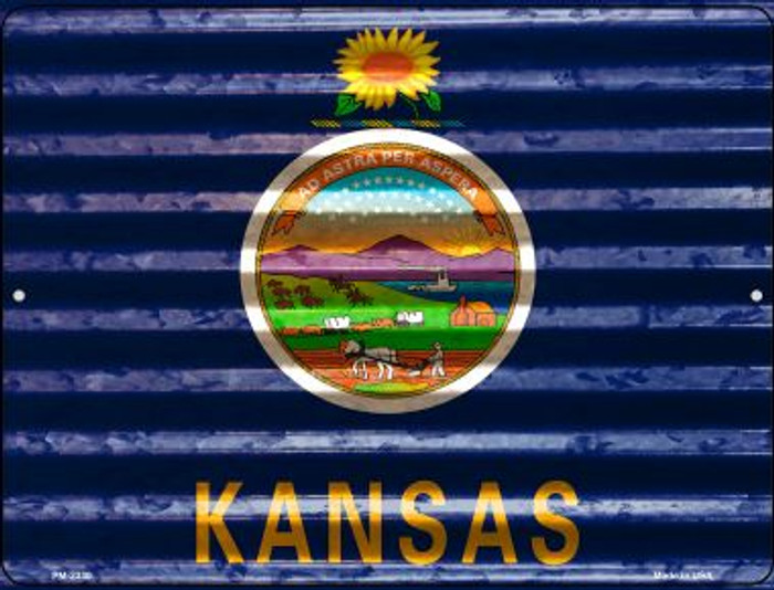 Kansas Flag Wholesale Novelty Mini Metal Parking Sign PM-2330
