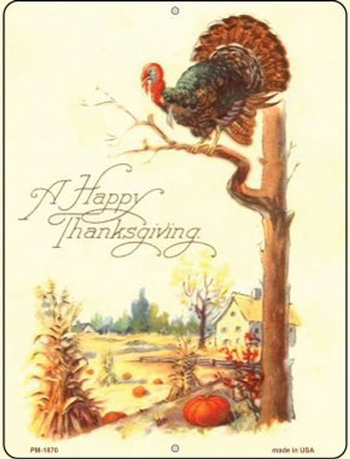 Happy Thanksgiving Wholesale Novelty Mini Metal Parking Sign PM-1870